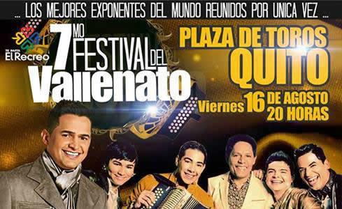 Concierto 7mo Festival del Vallenato Quito Agosto 2013