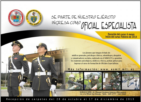 Inscripciones Oficial Especialista ESMIL Aspirantes 2013