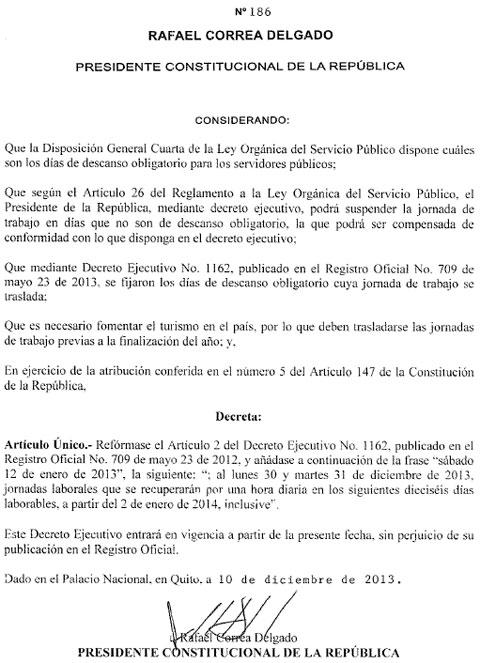 Rafael Correa decreta feriado de 5 días por Fin de Año-01
