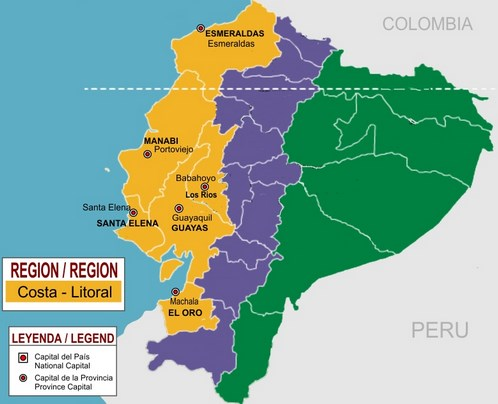 Número de Provincias Región Costa Ecuador