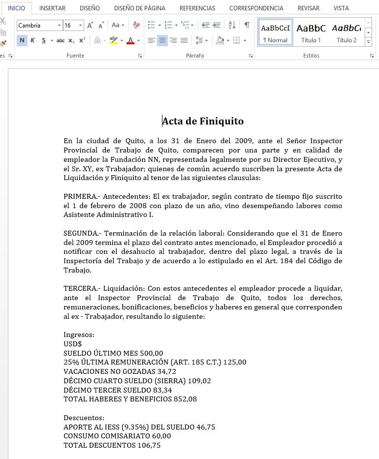 Ejemplo de Acta de Finiquito en Ecuador