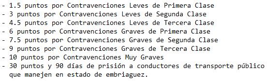 La pérdida de puntos se aplicará a los conductores que cometan las siguientes infracciones o contravenciones: