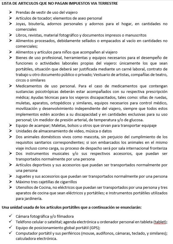 Artículos traídos de Colombia que no pagan Impuestos