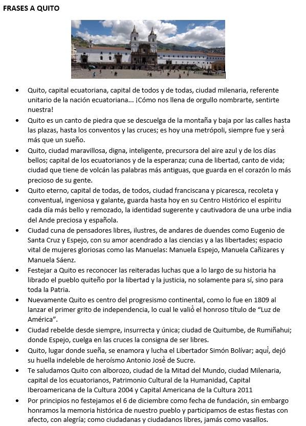 Lista de Frases a la Ciudad de Quito