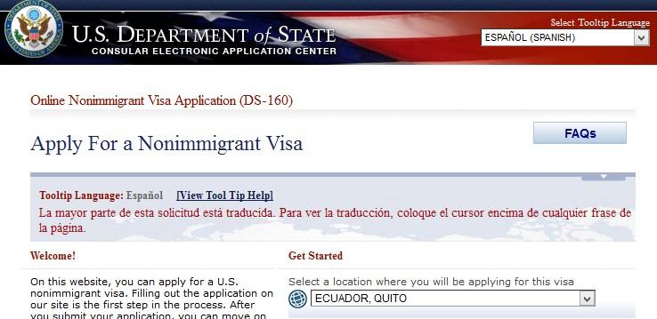 Como llenar el Formulario DS-160 para Visa Americana