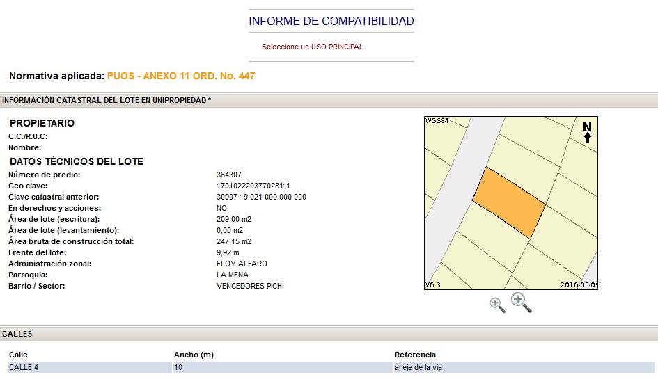 Consultar Compatibilidad de Uso de Suelo Municipio de Quito
