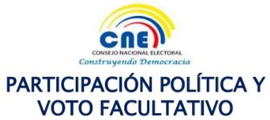 CNE Ecuador Voto Facultativo para Jóvenes de 16 y 17 Años