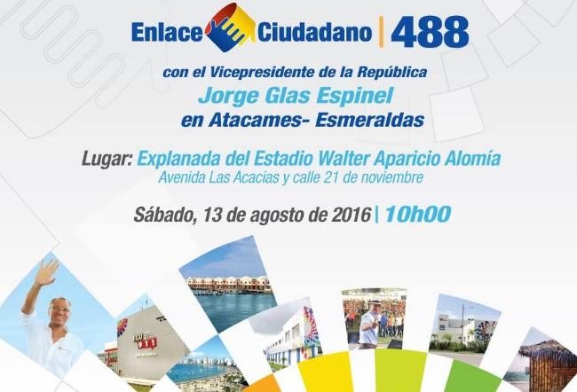 Enlace Ciudadano 488 en Atacames (sábado 13 de agosto 2016)