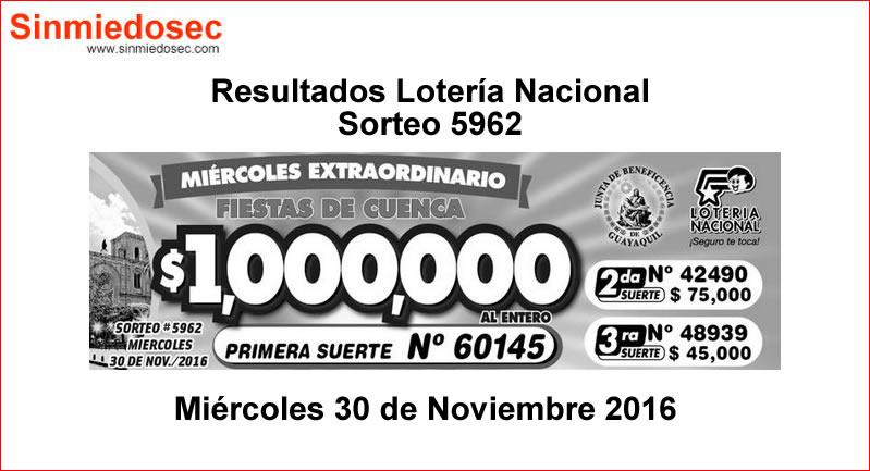 LOTERÍA NACIONAL SORTEO 5962