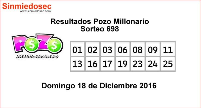 RESULTADOS POZO MILLONARIO SORTEO 698