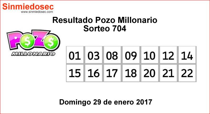 RESULTADOS POZO MILLONARIO SORTEO 704