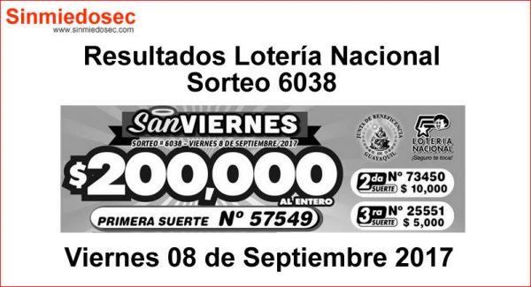 LOTERÍA NACIONAL SORTEO 6038
