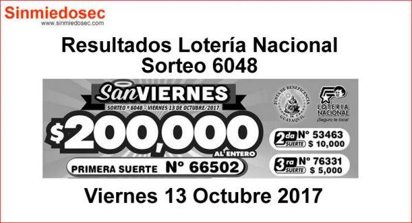 LOTERÍA NACIONAL SORTEO 6048