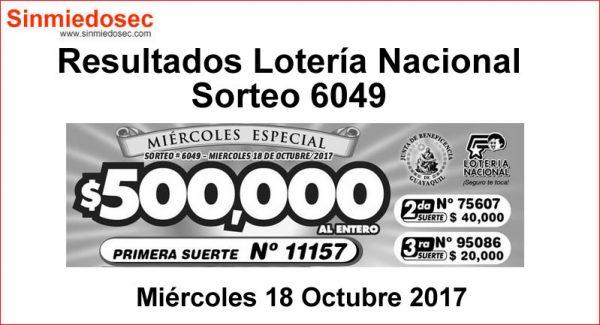 LOTERÍA NACIONAL SORTEO 6049