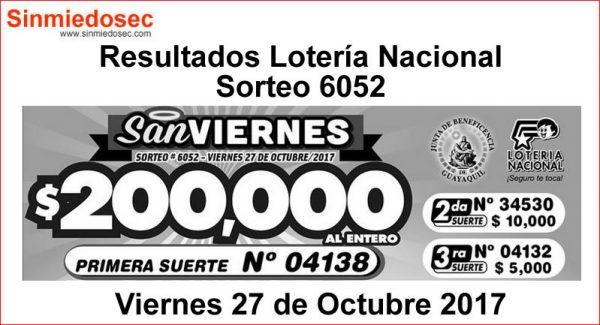 LOTERÍA NACIONAL SORTEO 6052