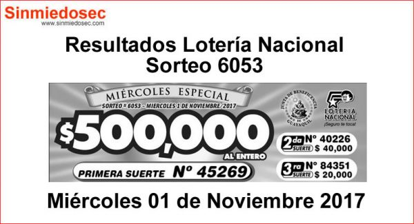 LOTERÍA NACIONAL SORTEO 6053