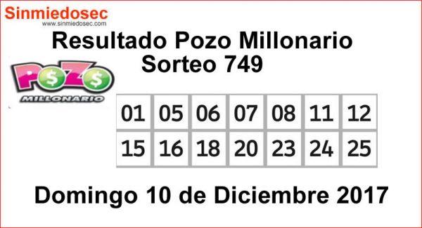 POZO MILLONARIO RESULTADOS SORTEO 749