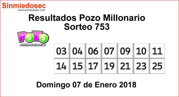 POZO MILLONARIO RESULTADOS SORTEO 753
