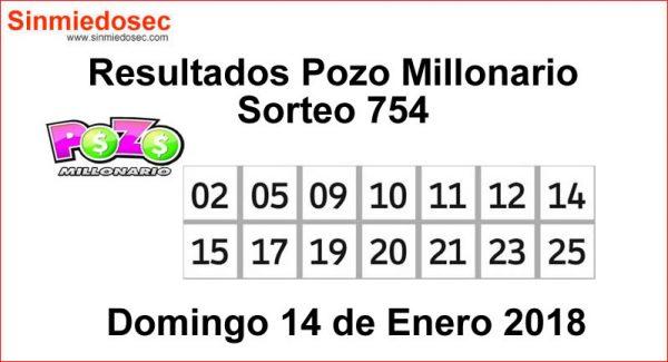 POZO MILLONARIO RESULTADOS SORTEO 754