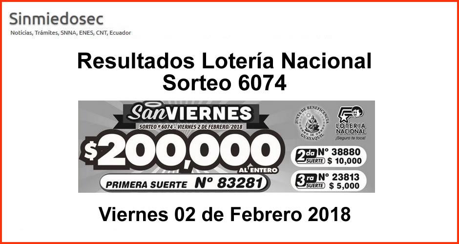 LOTERÍA NACIONAL RESULTADOS SORTEO 6074