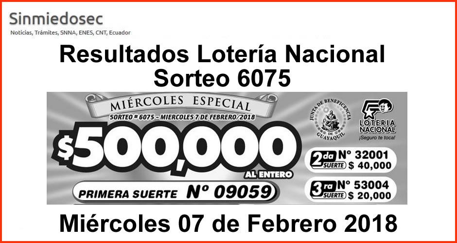 LOTERÍA NACIONAL RESULTADOS SORTEO 6075